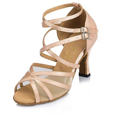 XIAMUO Anpassbare Frauen Wildleder Sohle Dance Schuhe Modern/Salsa/Latin/Swing Schuhe Ferse schwarz Latin Dance Sneakers/Tap, Mandel, Us8.5/EU39/UK6.5/CN 40