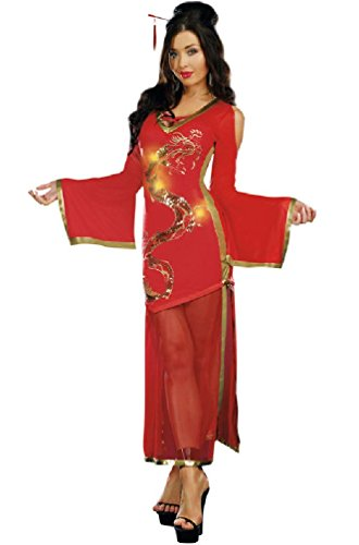 [8eighteen Dragon Mistress China Doll Geisha Fancy Dress Adult Halloween Costume] (Gothic China Doll Costume)