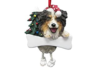 """Australian Shepherd Ornament with Unique """"Dangling Legs"""" Hand Painted and Easily Personalized Christmas Ornament"""