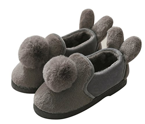 Cattior Womens Fur Lined Cute Warm Ladies Slippers House Shoes Gray NCnEiWAKS