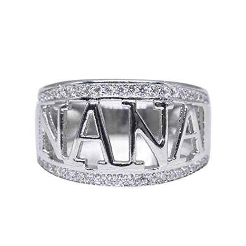 YJYdada Ring, Exquisite Nana Ring Cubic Zirconia Diamond Nana Christmas Gift Birthday Present (8)