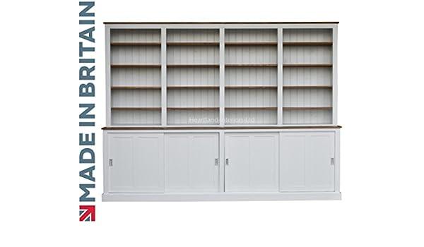 Heartland - Estantería de pino con puertas correderas para armario (BK-SD293), diseño contemporáneo pintado de 293 cm de ancho: Amazon.es: Hogar