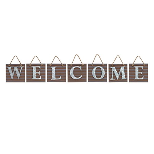 Barnyard Designs Welcome Galvanized Metal Letter Tile Wall Sign, Primitive Country Farmhouse Home Decor Sign with Sayings 67″ x 10″