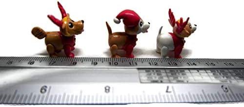 1shopforyou Set of 3 Christmas Puppy Santa Dog N0.2 Mini Figure Dollhouse Miniatures Clay Holiday Season
