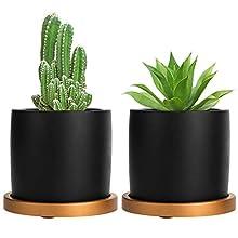 MyGift 4-inch Matte Black Cement Succulent Planter Pots with Removable Copper Tone Saucers, Set of 2