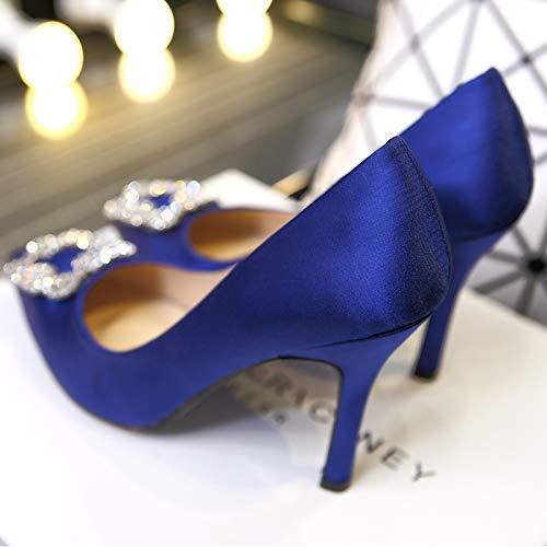 HRCxue Pumps Spitze High Heels quadratische Schnalle Strass Braut Hochzeit Schuhe rote Stiletto einzelne Schuhe Frau flachen Mund schwarz Satin 33 (7,5 mit hoch) blau