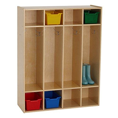 ECR4Kids Birch Streamline Classroom Locker | Hardwood Coat & Backpack Storage for Kids | 4-Section, Standard (46