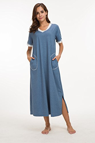 Supermamas Long Nightgown Womens Cotton Knit Short Sleeve Nightshirt with Pockets(Blue, XL) by Supermamas (Image #1)