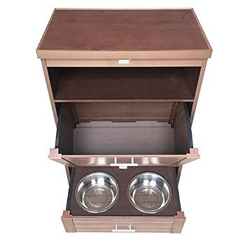 New Age Pet ecoFLEX Dog Food Pantry/Double Dog Bowl, Antique Russet