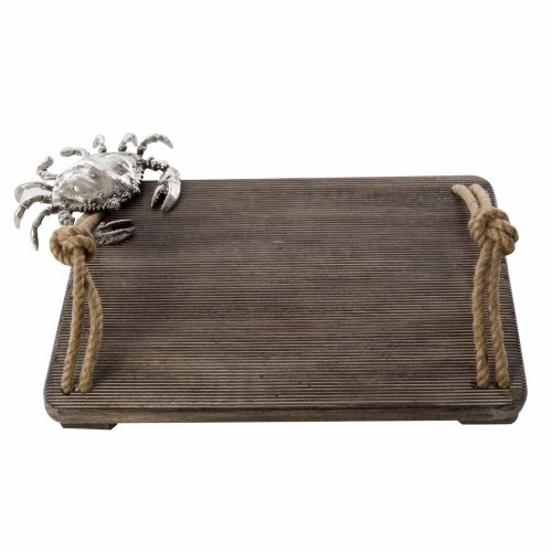Coastal Christmas Tablescape Décor -  Large Silver Crab Icon Cutting Board by Mud Pie