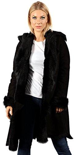 - Infinity Women's Luxurious 3/4 Black Suede Toscana Sheepskin Waterfall Coat XL