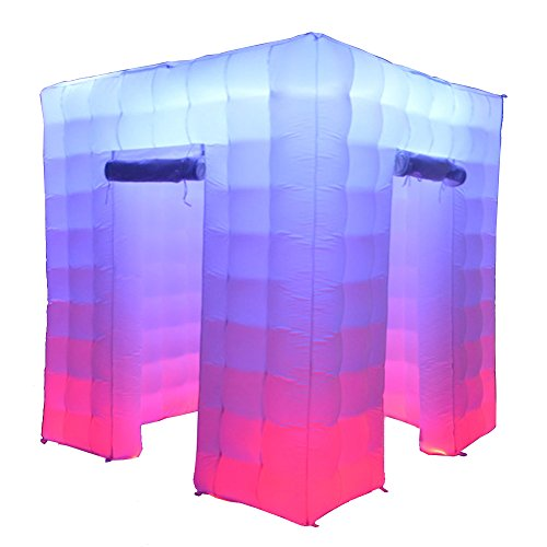 Sayok LED Inflatable Photo Booth Enclosure(8.2x8.2x8.2ft) with 17 Colors Changing LED Lights and Inner Air Blower for Event Weddings Parties with Two Doors by Sayok