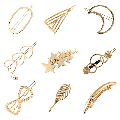 9 Pack Korean Gold Vintage Retro Geometric Minimalist Hair Clip Snap Barrette Comb Stick Claw Crab Clamp Bobby Pins Alligator Hairclip Metal Pearl Wedding Party Hair Styling Accessories for Women Girl ()