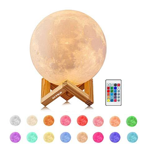 EXTSUD Lampada Lunare 3D Stampata Luna Piena Led Luce Notturna con Telecomando da Tavolo Lampada Dimmerabile 16 Colori 4 Modalità Luce USB Ricaricabile Regalo Ideale per Feste Compleanno Dia. 15cm