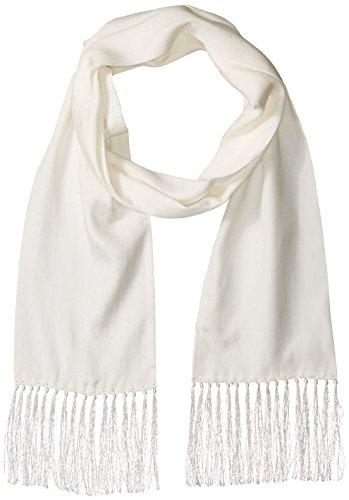 (Hickey Freeman Men's Jacquard Polka Dot Tuxedo Scarf W/Knotted Fringe, White, One Size)