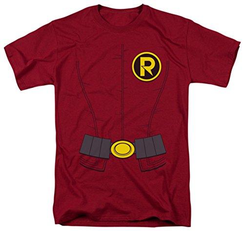 [DC Comics Men's Batman New Robin Uniform T-Shirt, Cardinal, Medium] (Batman And Robin Movie Costumes)