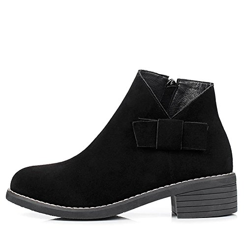 DecoStain Women's Cow Suede Leather Nubuck Zip Low Heel Simple Boots Black 0Ib9o1v