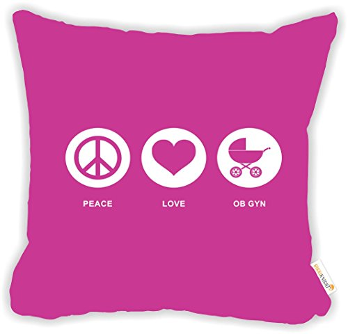 Rikki-Knight-Peace-Love-OB-GYN-Rose-Pink-Color-Microfiber-Throw-Dcor-Pillow-Cushion-18-Square-DOUBLE-SIDED-PRINT-Insert-Included