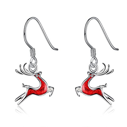 Christmas Gift Reindeer Earring -Silver Hypoallergenic Red Deer Xmas Dangle Earrings for Women Girls Kids Small Cute Christmas Jewelry Drop Earrings, Cute and Fun, Great Gift Package Idea