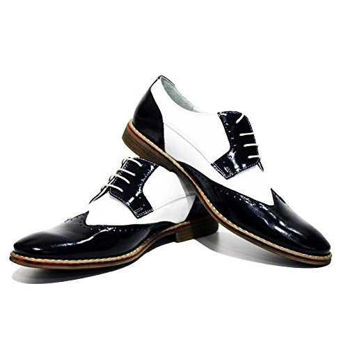PeppeShoes Modello Capones - Handmade Italiennes Cuir Pour des Hommes White Chaussures Wingtip Oxfords - Cuir de Vachette Cuir Souple - Lacer