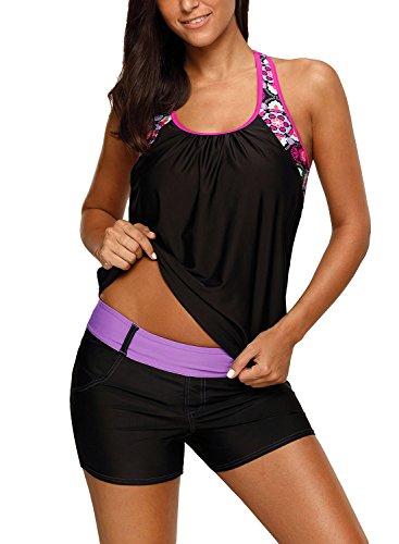 Actloe Womens Floral Blouson Crew Neck T-Back Swimwear Summer Tankini Top Black Large - Floral Nylon Tankini