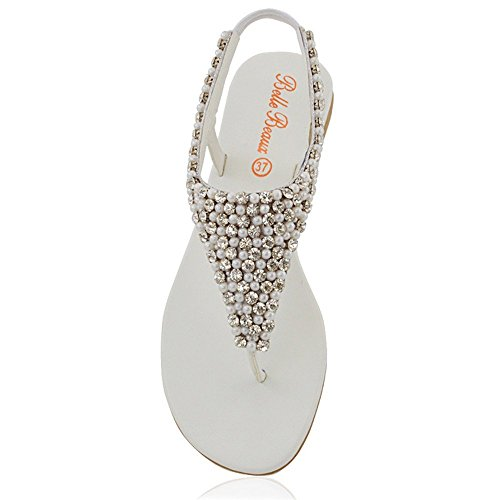 Essex Glam Mujeres Diamante Pearl Toe Post Sandalias Planas Blancas