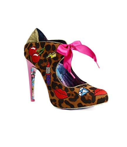 Irregular Choice Women's Pop Art Kiss Platform Heels in Tan/Gold (EU 38/US 7/UK 5, ()