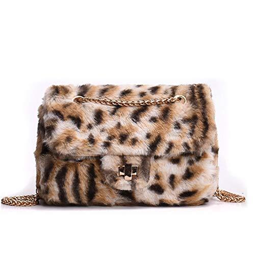 a Borse marrone kaki Lady Leopard Furry oblique Catena singola Totes spalla F1qFrwY