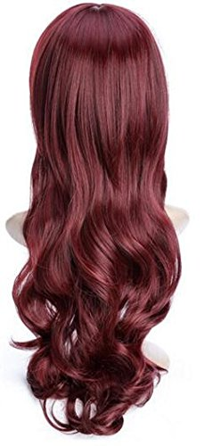 [YunNasi Women's Cosplay Wigs Long Big Wave Spiral Curly Hair (Red wine(neat))] (Pirate Makeup Female)
