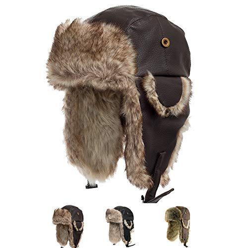 17173d0b5db Ushanka Trooper Russian Pilot Aviator Leather Winter Trapper Hat BROWN 7  1 4 (B004CP9LMM)