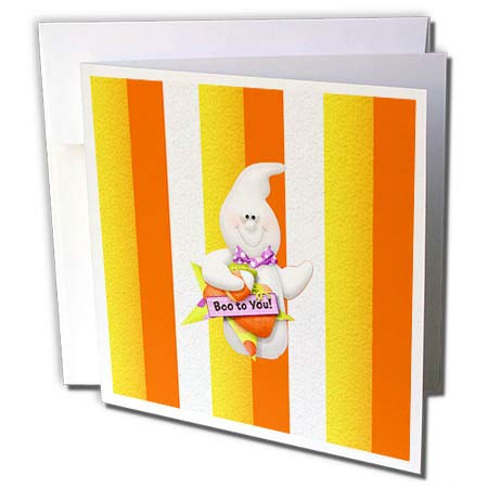 Boo Cap (3dRose Beverly Turner Halloween Design - Boo to You, Ghost, Candy Corn, Bow Tie, Orange, White Textured Look - 6 Greeting Cards with envelopes (gc_287063_1))