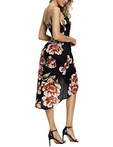 de en 2 Off Floral Mujeres Lrud Bohemio Estampado con Blanco Color Shoulder Playa Negro Negro Vestido 6fInnvq