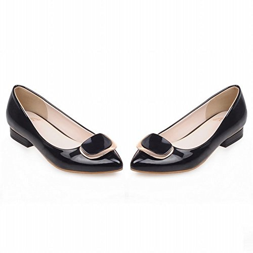 Carolbar Womens Pointed Teen Sexy Elegance Lakleder Lage Hak Flats Dress Shoes Zwart