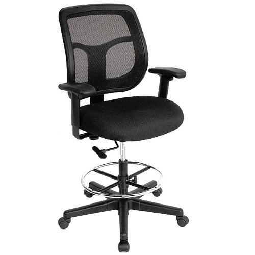 Eurotech Apollo Mesh Drafting Chair, 23.2-32.7 Inch Seat Height, Black (DFT9800) (Eurotech Office Chairs)