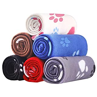6 Pack Pet Blanket Soft Fleece Dog Cat Blanket, Fluffy Warm Sleep Bed Cover with Paw Print for Kitten Puppy (S)