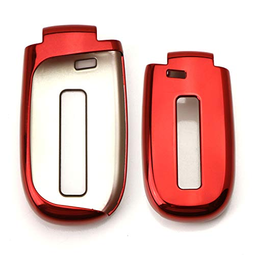 iJDMTOY Chrome Finish Red TPU Key Fob Protective Cover Case For Dodge Charger Challenger Dart Durango Journey, Chrysler 200 300, Jeep Grand Cherokee, Renegade etc ()