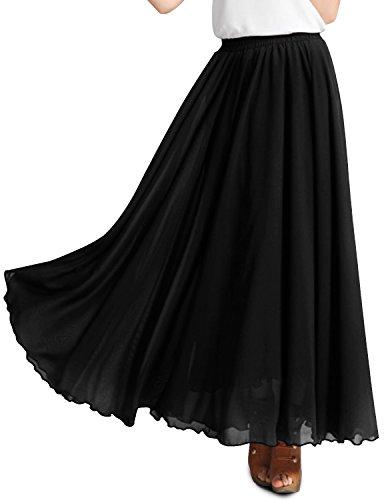 For womans a h line oversized high waist black 2xl plus size chiffon maxi skirt