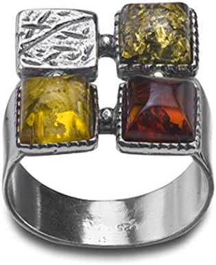 Multicolor Amber Sterling Silver Squares Design Ring