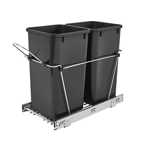 Rev-A-Shelf RV-15KD-18C S Double 27 Quart Pull Out Waste Bin Container, Black (Put The Recycle Bin In The Recycle Bin)