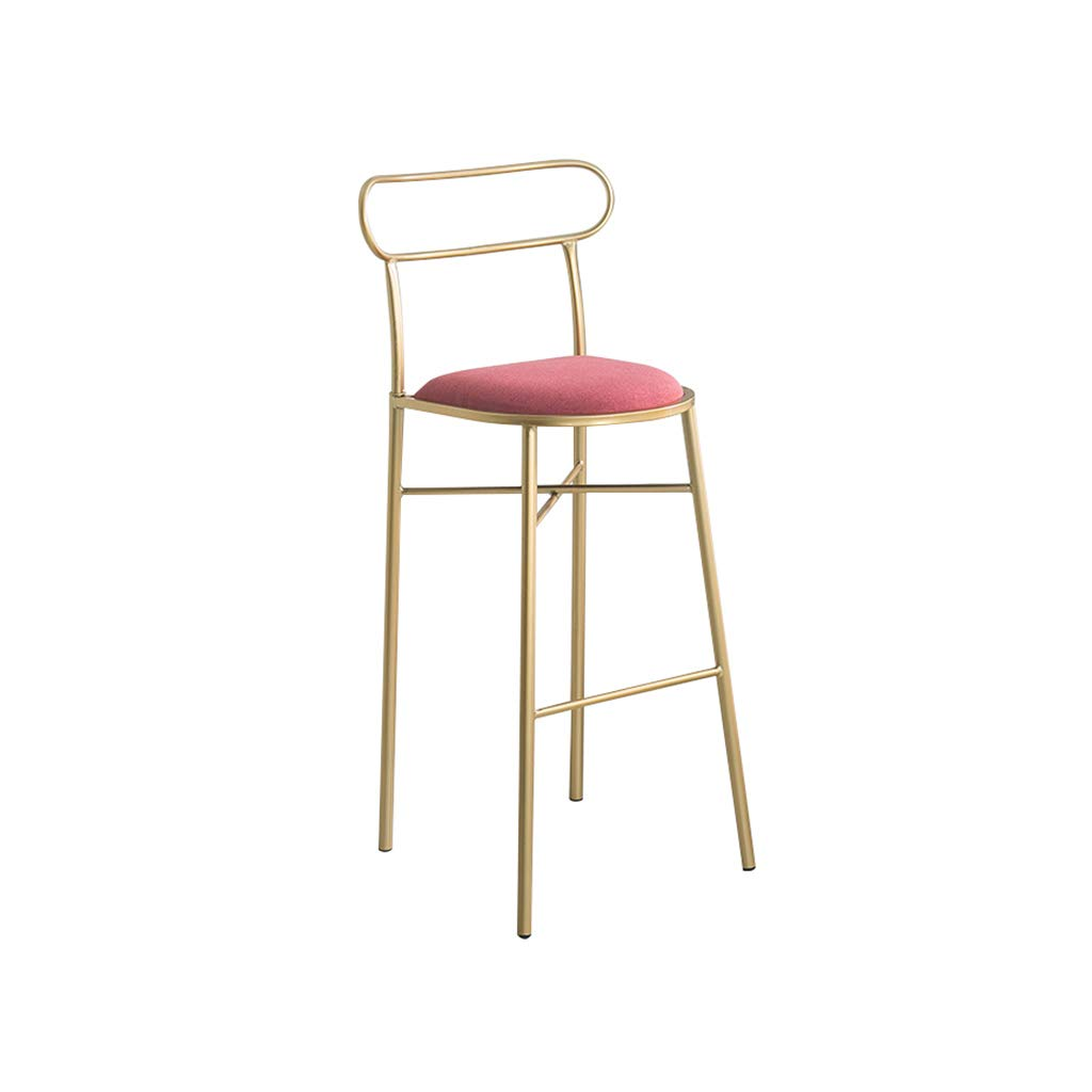 B H-75CM A-Fort Nordic New Bar Stool Wrought Iron Bar Chair gold Home High Stool Modern Dining Chai Bar Stool,Creative Chair (color   A, Size   H-75CM)