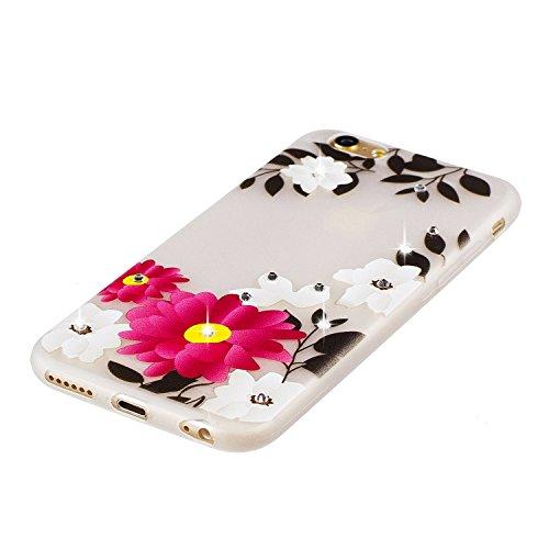 Funda iPhone 6 / 6S, iPhone 6S Luminoso Funda, SpiritSun Soft Carcasa Funda para iPhone 6 / 6S (4.7 pulgadas) Ultra Delgado y Ligero Flexible TPU Caja Diseño Fluorescente Funda Carcasa Cristal Gel Pro Flor Roja y Blanca