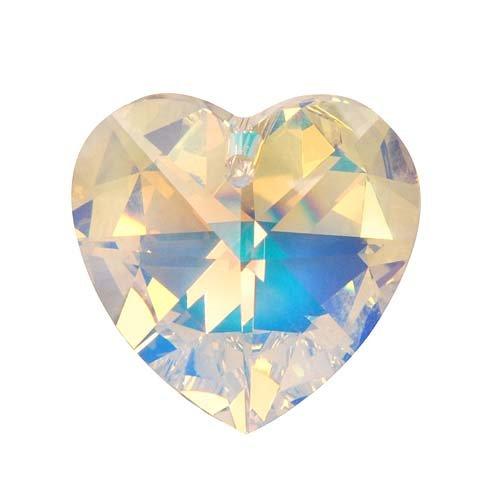 Swarovski Crystal, #6228 Heart Pendant 40mm, 1 Piece, Crystal AB - 9mm Heart Pendant