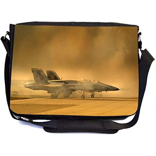 Rikki Knight Fighter Planes Design Premium Messenger Bag - School Bag - Laptop Bag - with padded insert for School or Work - With Matching Pencil Case