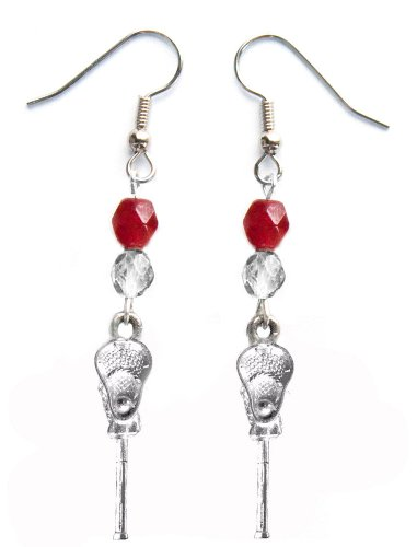 ''Lacrosse Stick & Ball'' Lacrosse Earrings (Team Colors Crimson & Silver) by Edge Sports
