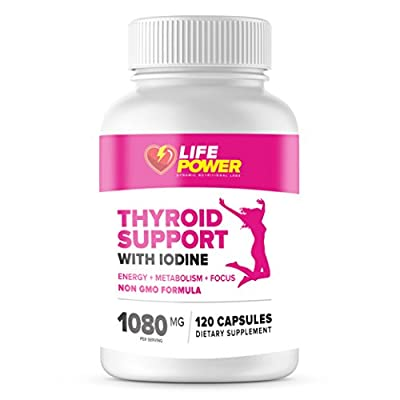Pure Thyroid Support Complex with Iodine - Dietary Supplement For Energy - Metabolism and Focus by Life Power Labs. Non GMO Formula - 120 Vegetarian Capsules.