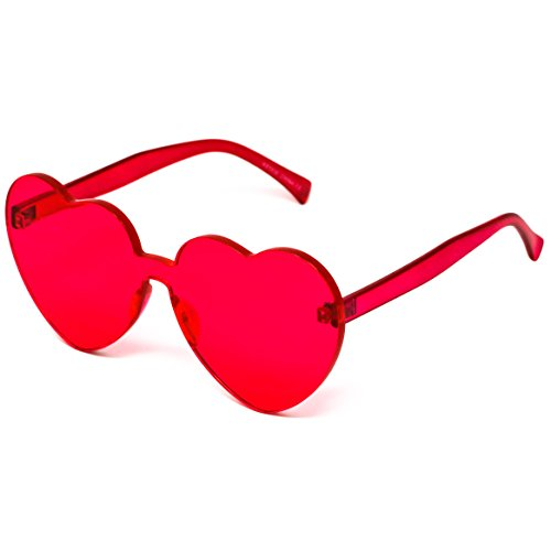Elite Love Candy Color Heart Shape Sunglasses For Women Rimless Frame Colorful Mirror Tinted Lens - Love Heart Sunglasses