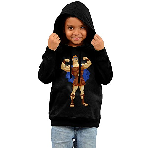 Toddler Funny Hercules 100% Cotton Long Sleeve Hoodies Black US Size 5-6 Toddler