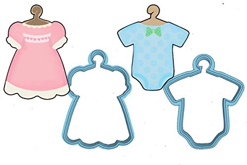 (Baby Onsie Cookie Cutter - American Confections - Dress, Baby Shower, Hanger - Set of 2 - MADE IN THE USA )