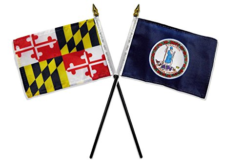 ALBATROS State Maryland with Virginia Flags 4 inch x 6 inch Desk Set Table with Gold Base for Home and Parades, Official Party, All Weather Indoors ()