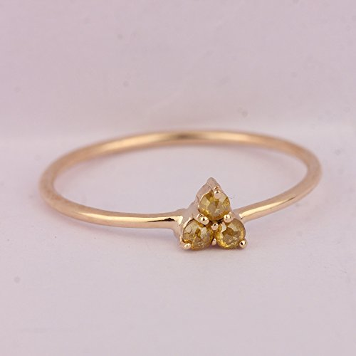 Natural 0.15Ct Diamond Fine Delicate Ring Solid 14k Yellow Gold Mother's Day Sale Handmade Wedding Jewelry (Ct Diamond 0.15 Natural)